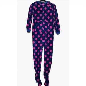 Footed kids one piece footed fleece pajama size L